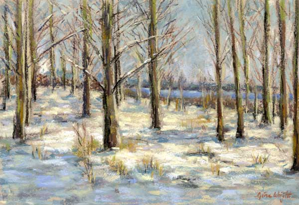 Trees with winter snow on the ground and the river Tay in the distance