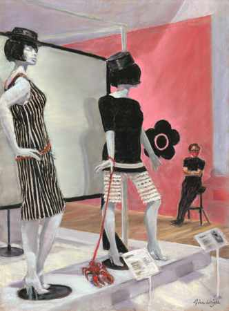 Two manequins in Mary Quant outfits, one has a lobster on a leash
