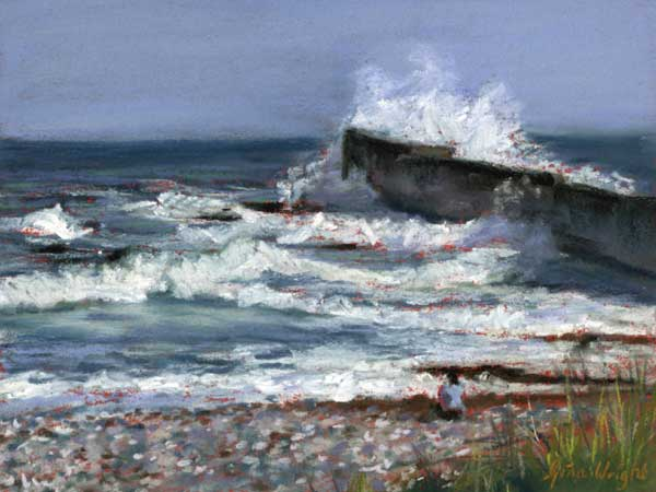 Study for The Wave, Auchmithie, Pastel